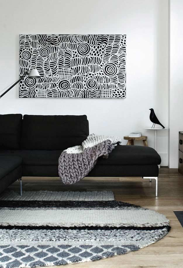 Sofa with black chaise