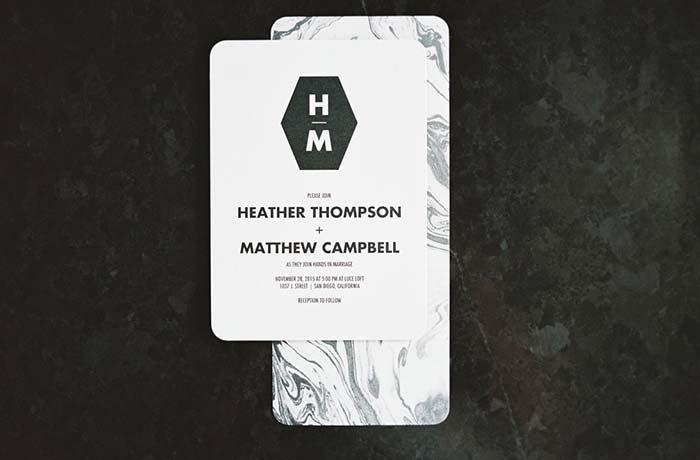 Wedding Invitation Envelope with Marbled Effect