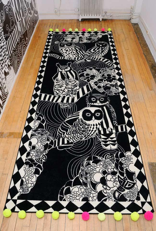 Black and White Owl Rug