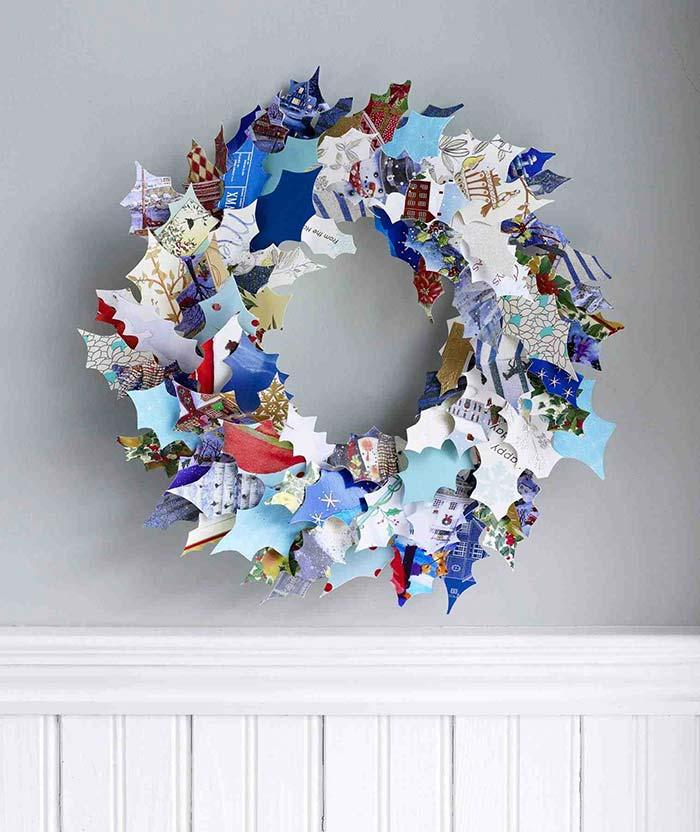 Recycled Christmas ornament with papers