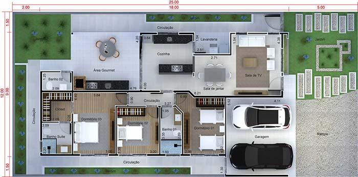 House plan with three bedrooms and parking space for two cars in the garage
