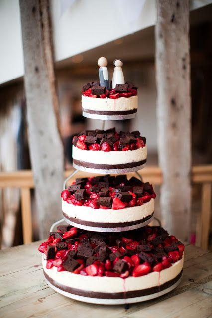 Chocolates and strawberries on simple wedding cake