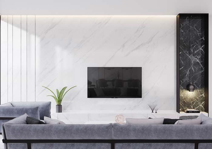 Composition of white marble with black marble