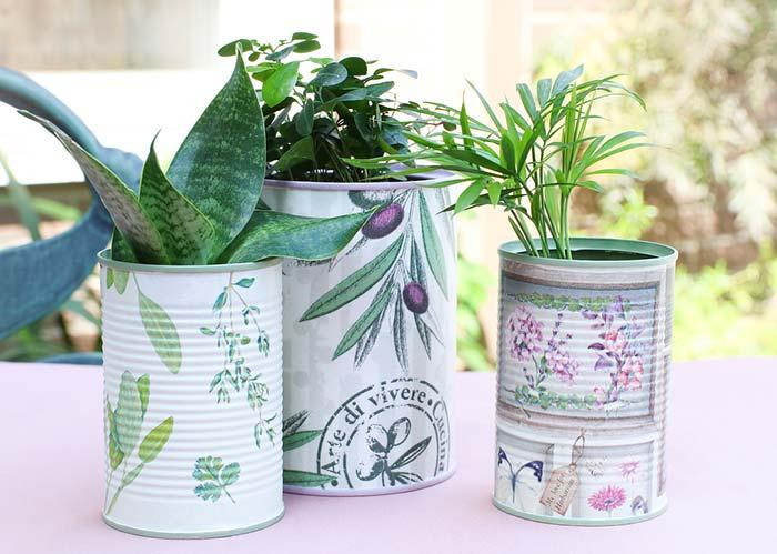 Recycling concept with decoupage