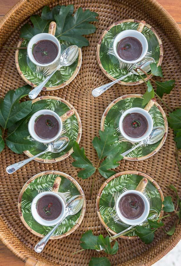 Bean soup served in cups of coffee for the party bar