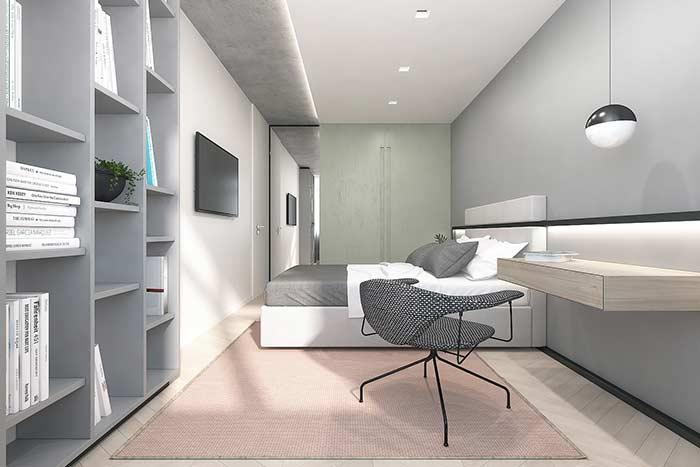 Soft colors dominate the look of the room