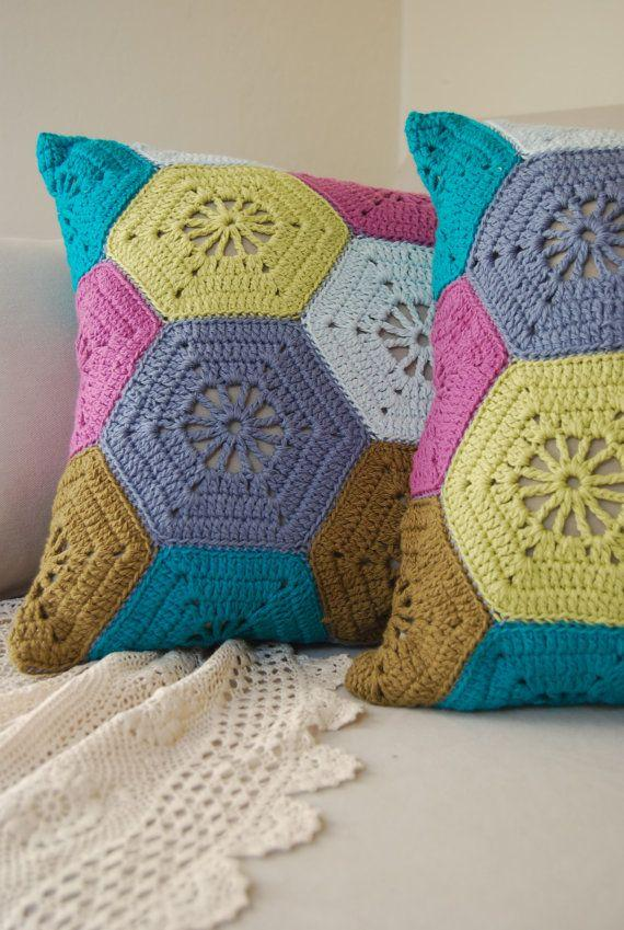 Colorful Hexagons for Crochet Cushion Cover