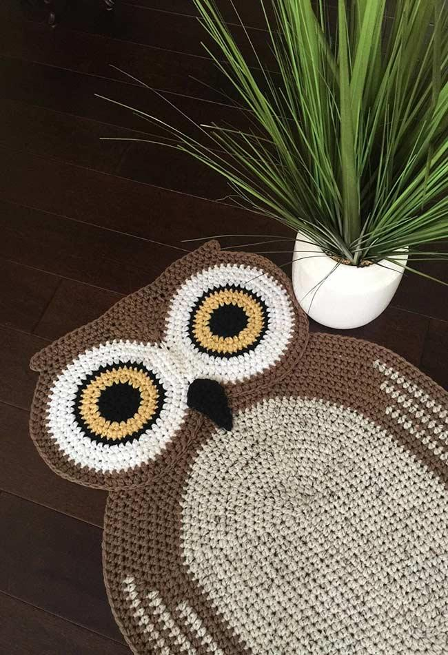 Decorated and geometric owl rug