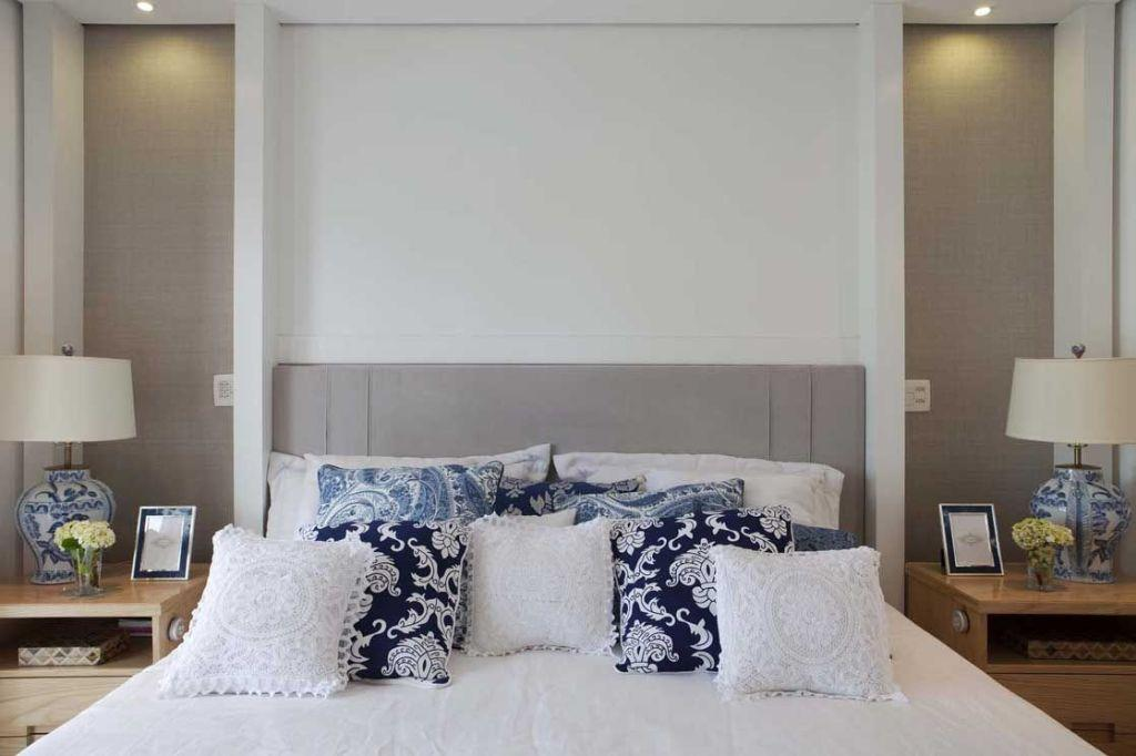 Upholstered headboard in gray color