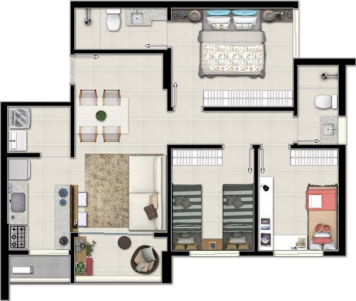 Floor plan of 3 single rooms