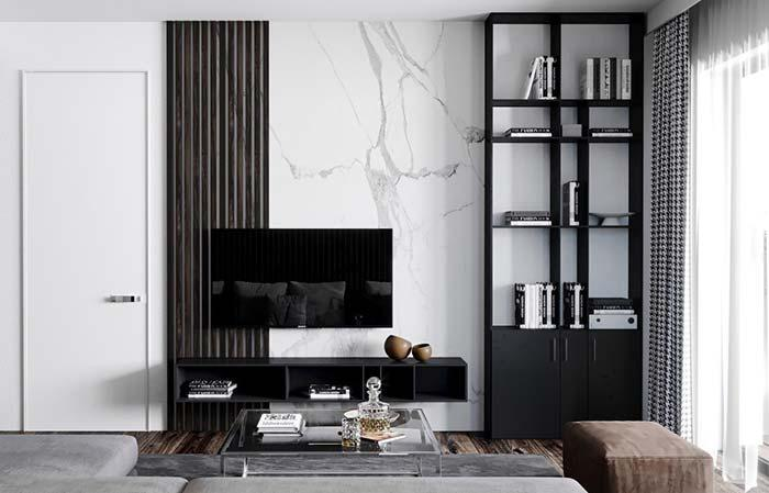 Wall with white marble