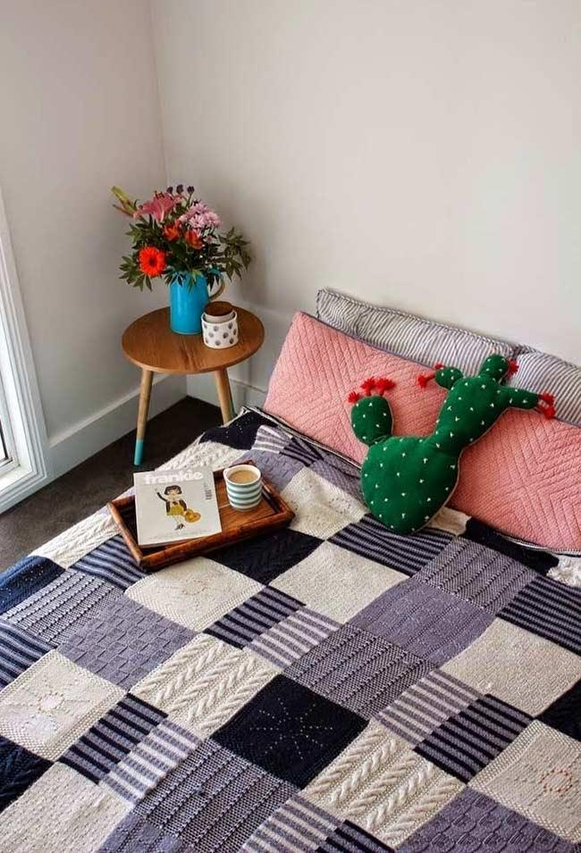 Cozier setting with the crochet quilt