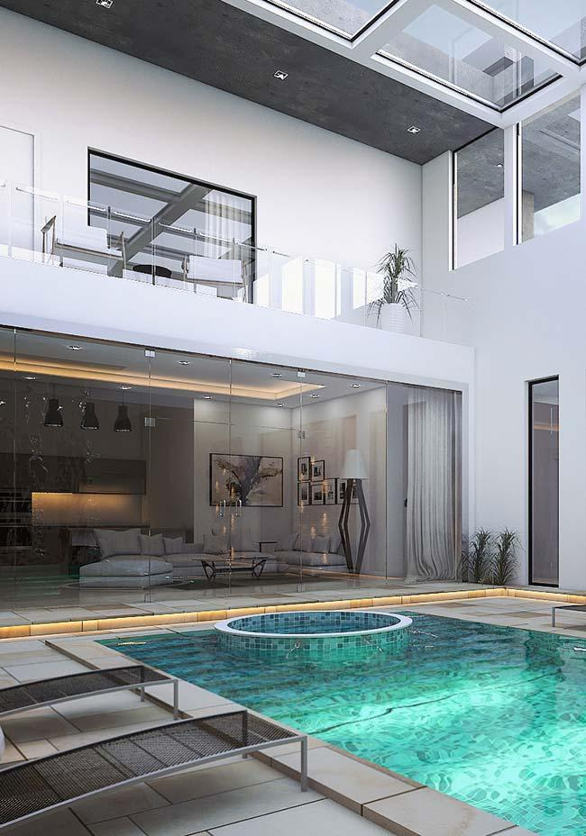 gray ceramic floor in the pool
