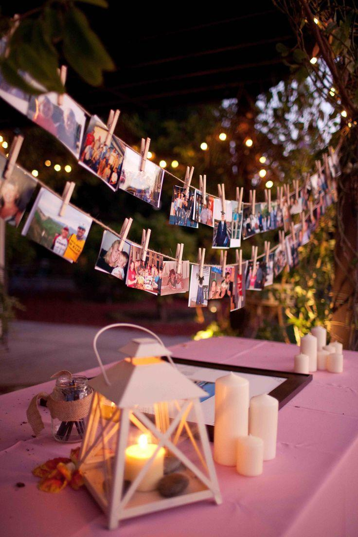 Decorating idea for simple engagement party: table clothesline on the table
