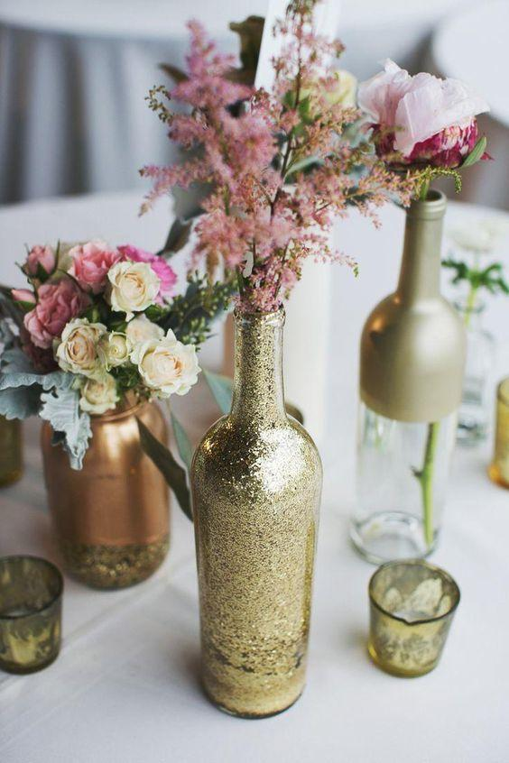 Table Top with Bottle: see beautiful ideas to decorate the table 37