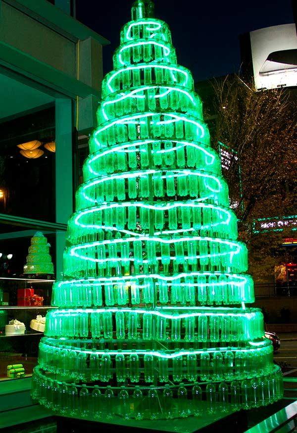 Fully lined bottles on Christmas tree