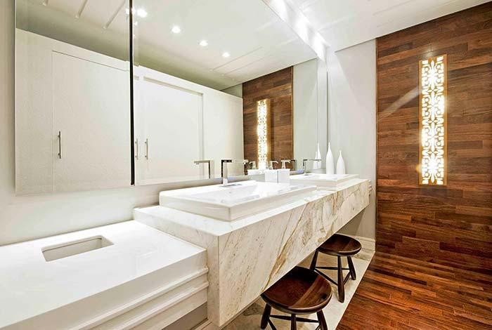 Maroon shade of white marble in combination with wood
