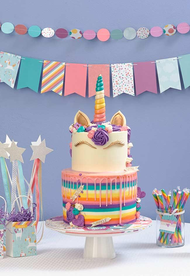 Cake table for unicorn party