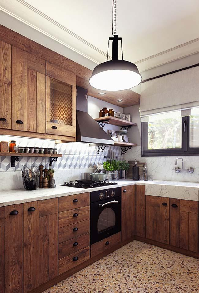 Rustic style kitchen with granara Gióia marble on the countertop