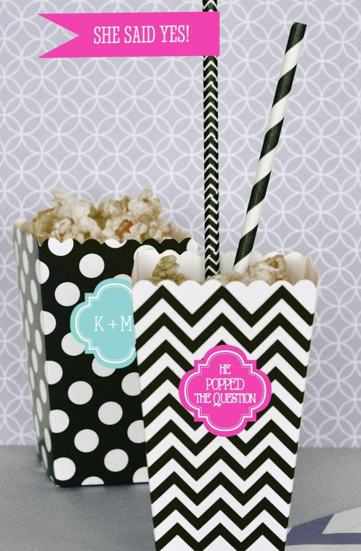 Simple engagement party: popcorn served in custom packaging