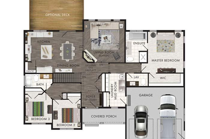 3 bedroom house plan with separate suite