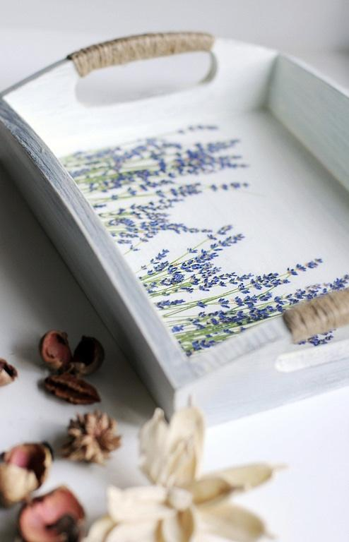 Decoupage of lavenders on tray