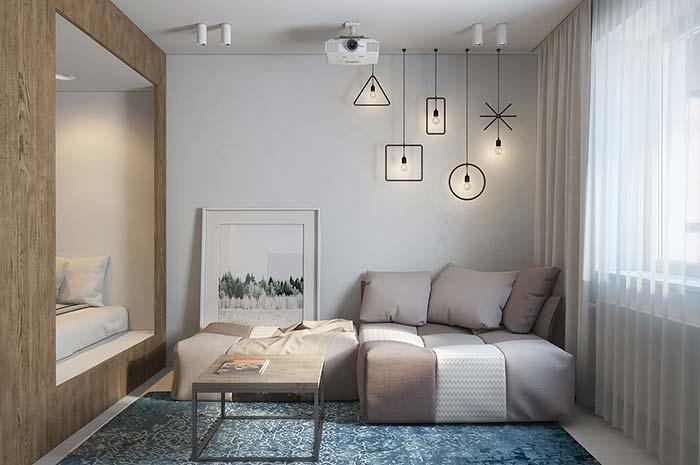 Modern decoration with geometric lamps
