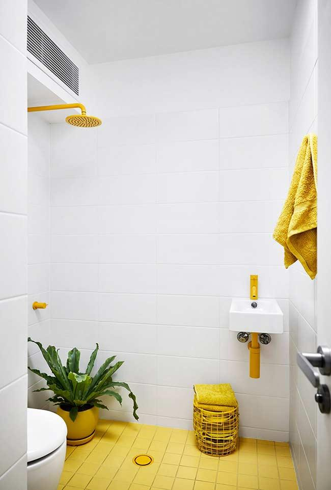 White bathroom with yellow details