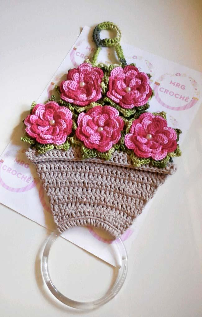 Crochet Dish Cloth Holder with Flower Pot