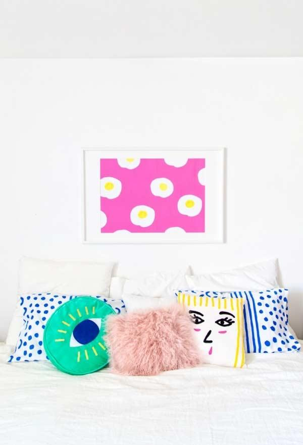 Fun pillows for bed: more color and fun for the room