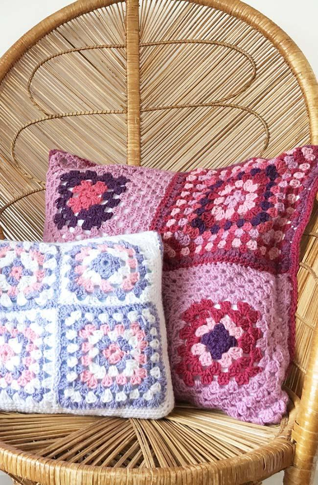 Cushion with crochet square