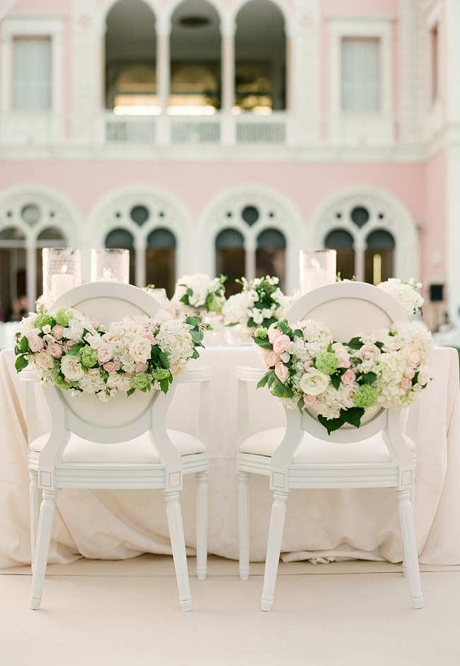 Flower arrangements for the bride and groom's chair