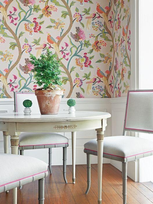 Dining room with fabric on the wall