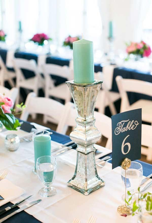 Tiffany blue candles for table decoration
