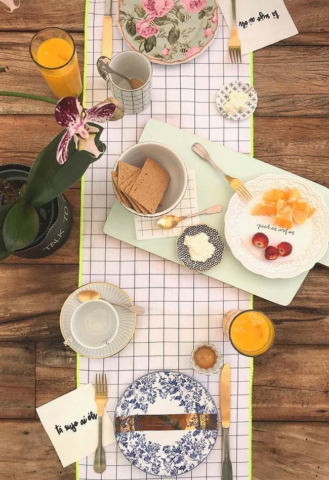 Table set for breakfast for two