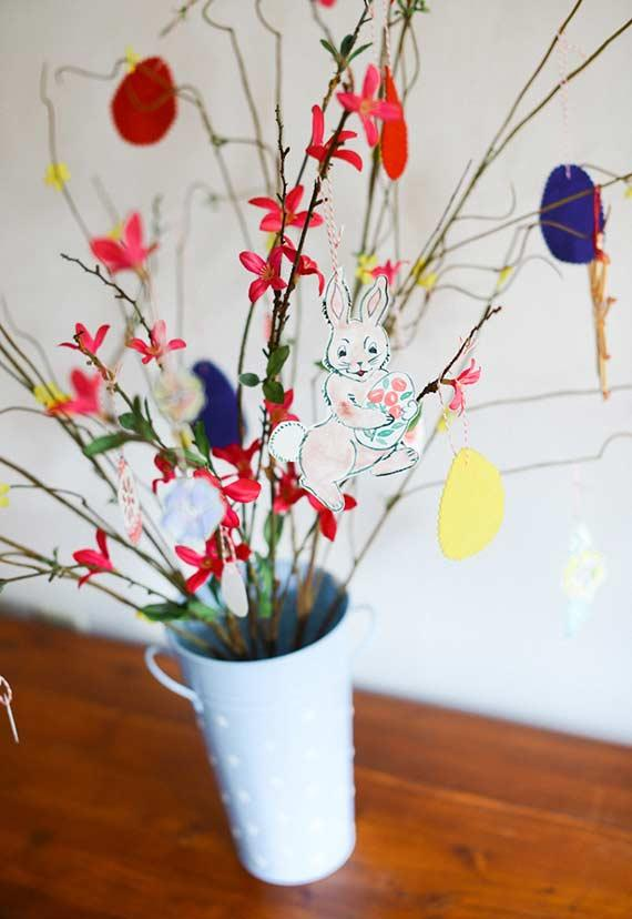 Handmade eggs and rabbits in decoration