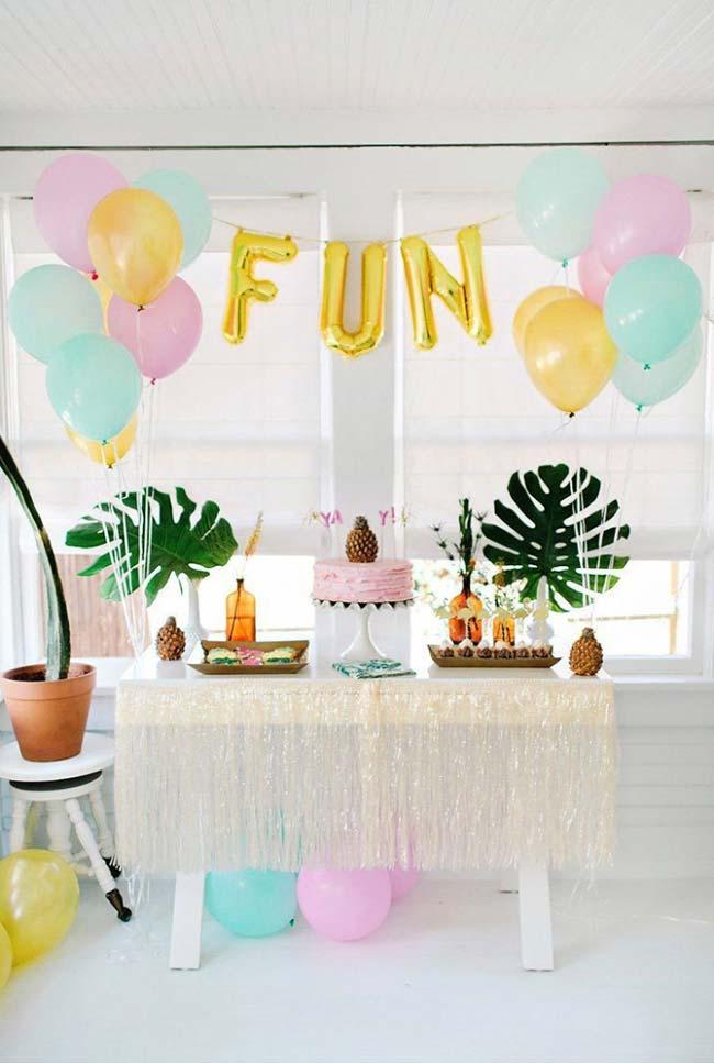 Go through the garden and bring some leaves to help with the simple party decoration.