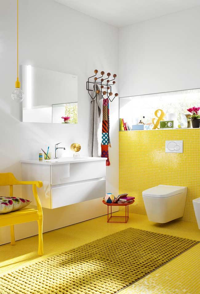 Yellow on the floor pads and bathroom wall