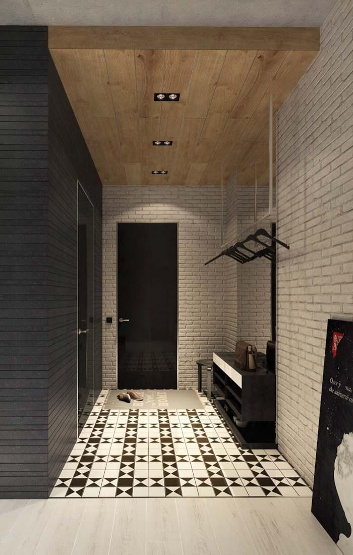 Brick wall and recessed wooden lining
