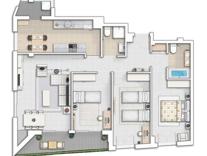 Apartment with 3 bedrooms next to each other