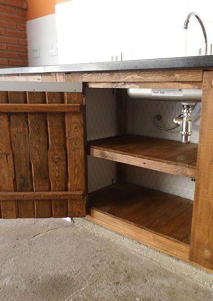 Pallet kitchen cabinet inside and out