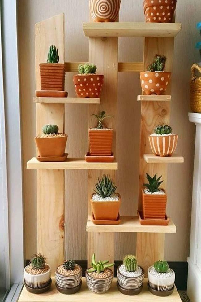 Vertical mini garden for cacti and succulents made from pallets