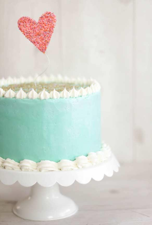 Tiffany blue cake with whipped cream
