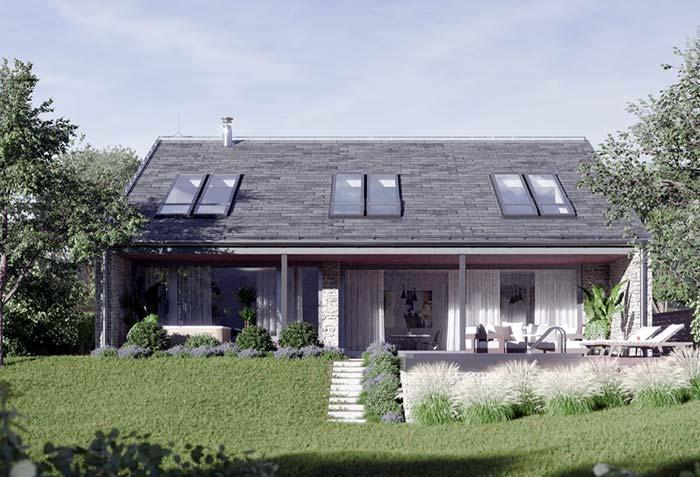 Shingle roof with trapdoor