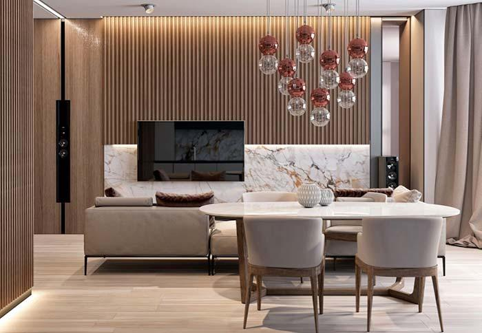 Living room with white marble panel