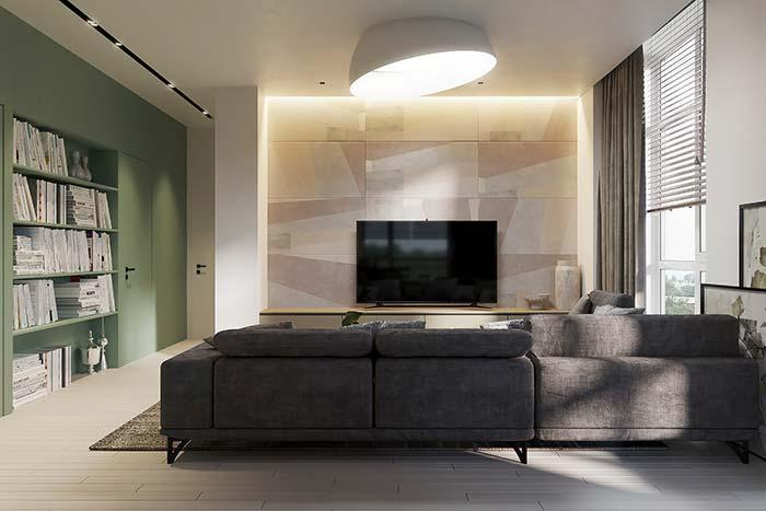 TV wall covered with stones