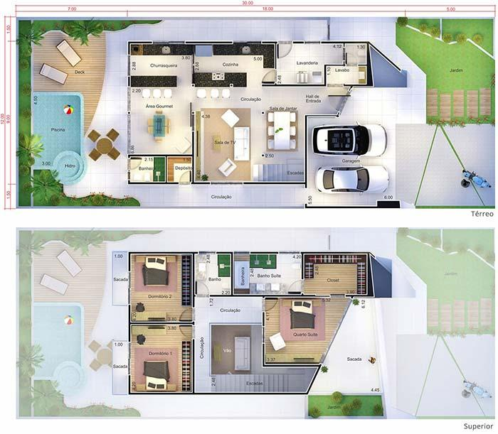 Plans of houses with 3 bedrooms: large balcony for the bedroom of the couple