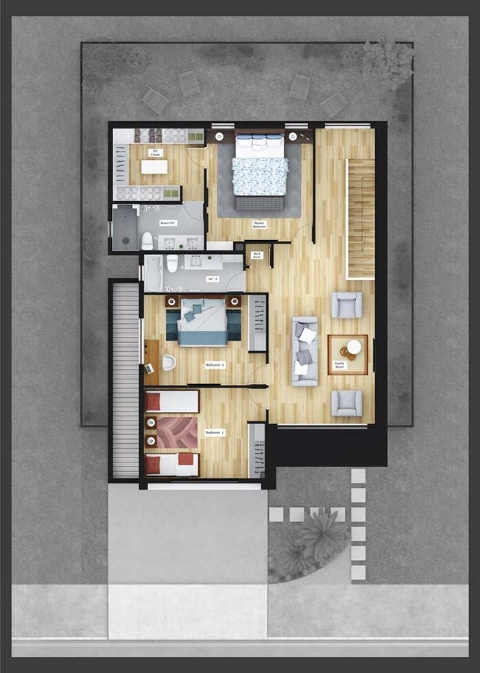 3 bedrooms on the top floor