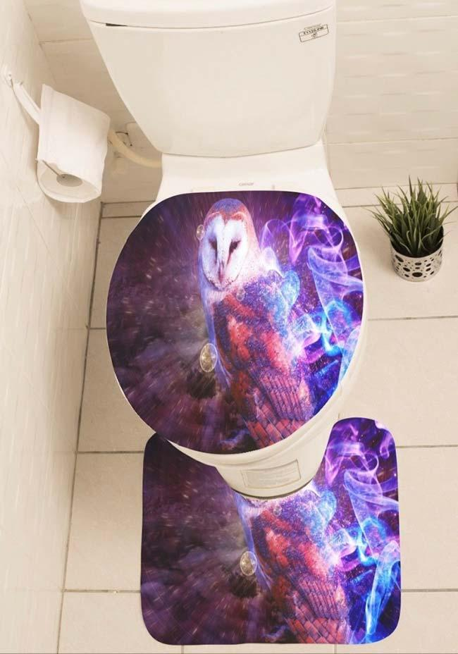 Owl bathroom set with vivid colors