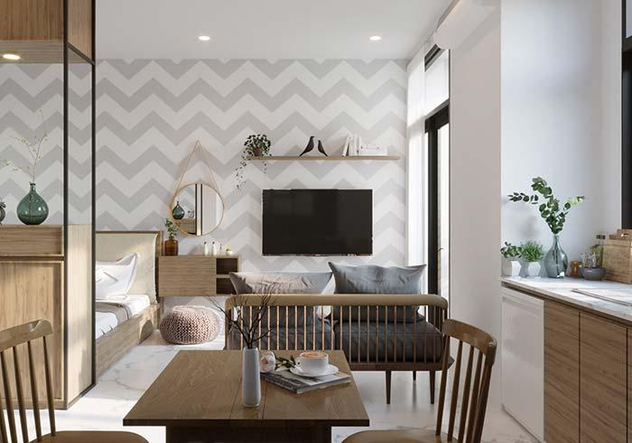 Zig zag wallpaper creates illusion of continuity and extension for the small apartment